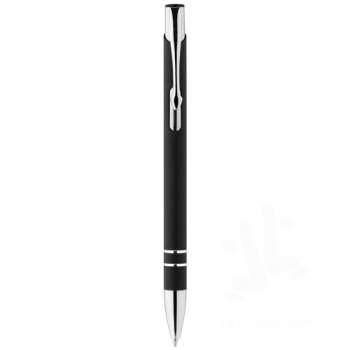 Corky ballpoint pen with rubber-coated exterior