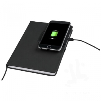 Cation notebook with wireless charging pad