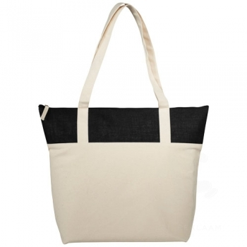 Jones 407 g/m² zippered cotton and jute tote bag