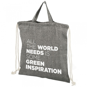 Be Inspired 150 g/m² recycled cotton drawstring backpack