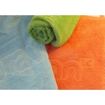 Saunalina, rätik reljeefse logoga
