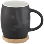 Hearth 400 ml ceramic mug with wooden coaster