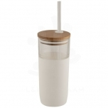 Arlo 600 ml glass tumbler with bamboo lid