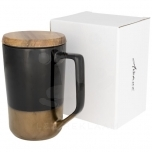 Tahoe 470 ml ceramic mug with wooden lid
